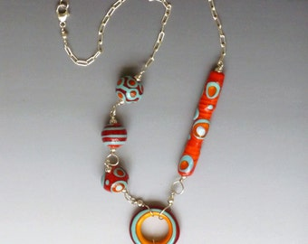 Tribal Necklace in Red and Other Colors: handmade glass lampwork beads with sterling silver components