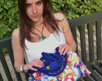 Bag multicolor arty, blue, cotton satin interfaced, lined, hand bag, shoulder bag, trendy, chic casual,fashion handmade in France