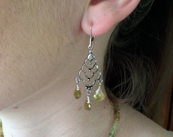 Green Garnets Natural and Genuine Faceted Briolettes wire wrapped with 925 Sterling Silver Statement Chandelier Earrings-January Birthstone