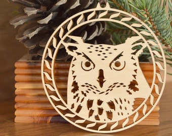 Owl ornament woodcut hanging desk window tree decoration Woodcut owl  face