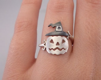 Pumpkin Ring Halloween Jewelry jack-o-lantern Ring Gift for Halloween Night Sterling Silver 925 Funny Cool Halloween Gift Idea