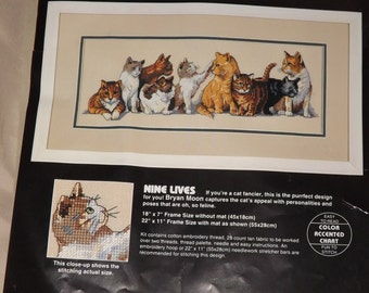 ON SALE Nine Lives Counted Cross Stitch -L 341