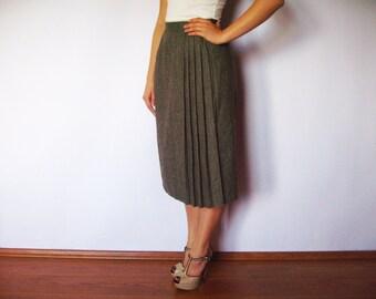 Gray Brown Vintage Skirt Midi Skirt Pleated Pencil Women High Waist Skirt Made in USA