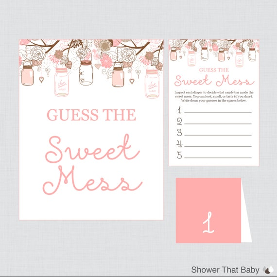 Mason Jar Baby Shower Diaper Candy Bar Game Printable Guess