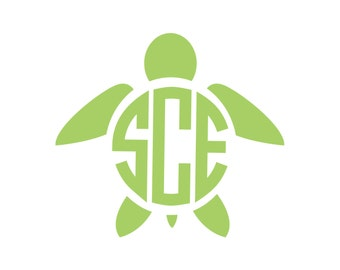 Turtle Monogram Vinyl Decal Icon - 1 Color - Choose from 14 colors in various sizes and fonts