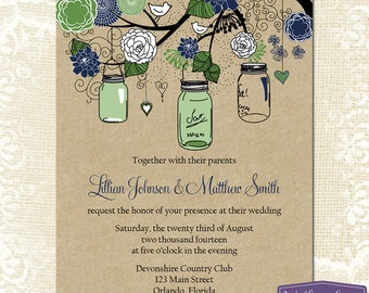Mason Jar Wedding Invitation - Green and Navy Blue Mason Jar Wedding Invite - Rustic Wedding Invitation Wedding - 6025 PRINTABLE