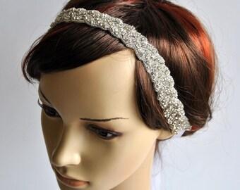 Luxury Crystal  Rhinestone Tie on Headband headpiece, Prom Headband, Wedding Headband, ribbon headband, Bridal rhinestone head piece