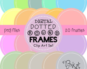 20 png PASTEL digital dotted round frames!