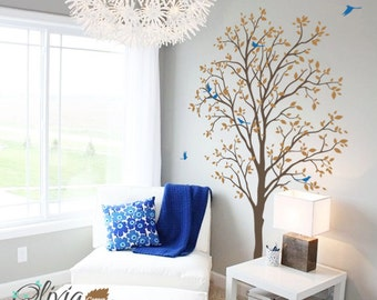 Baby nursery Spring Tree vinyl wall decal, removable tree sticker with birds -NT011
