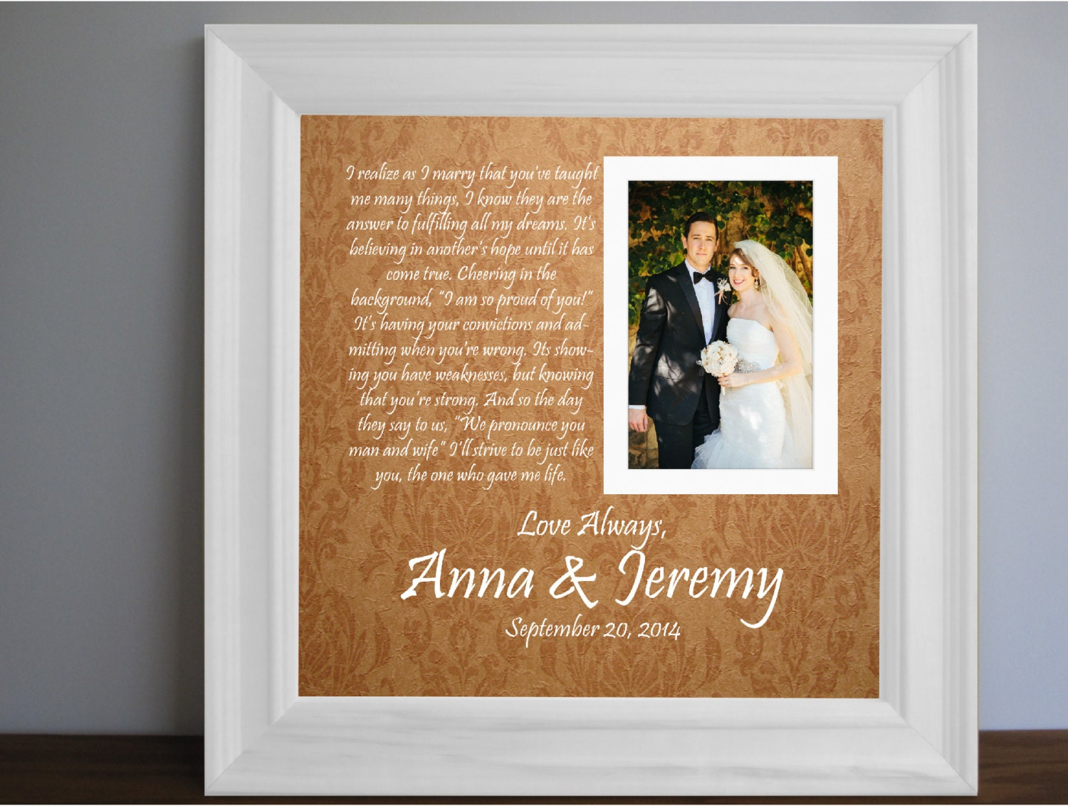 Parents Wedding Frame Thank You Parent Gift Custom By
