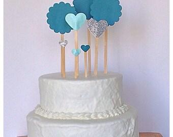 Teal and Silver Wedding Cake Picks
