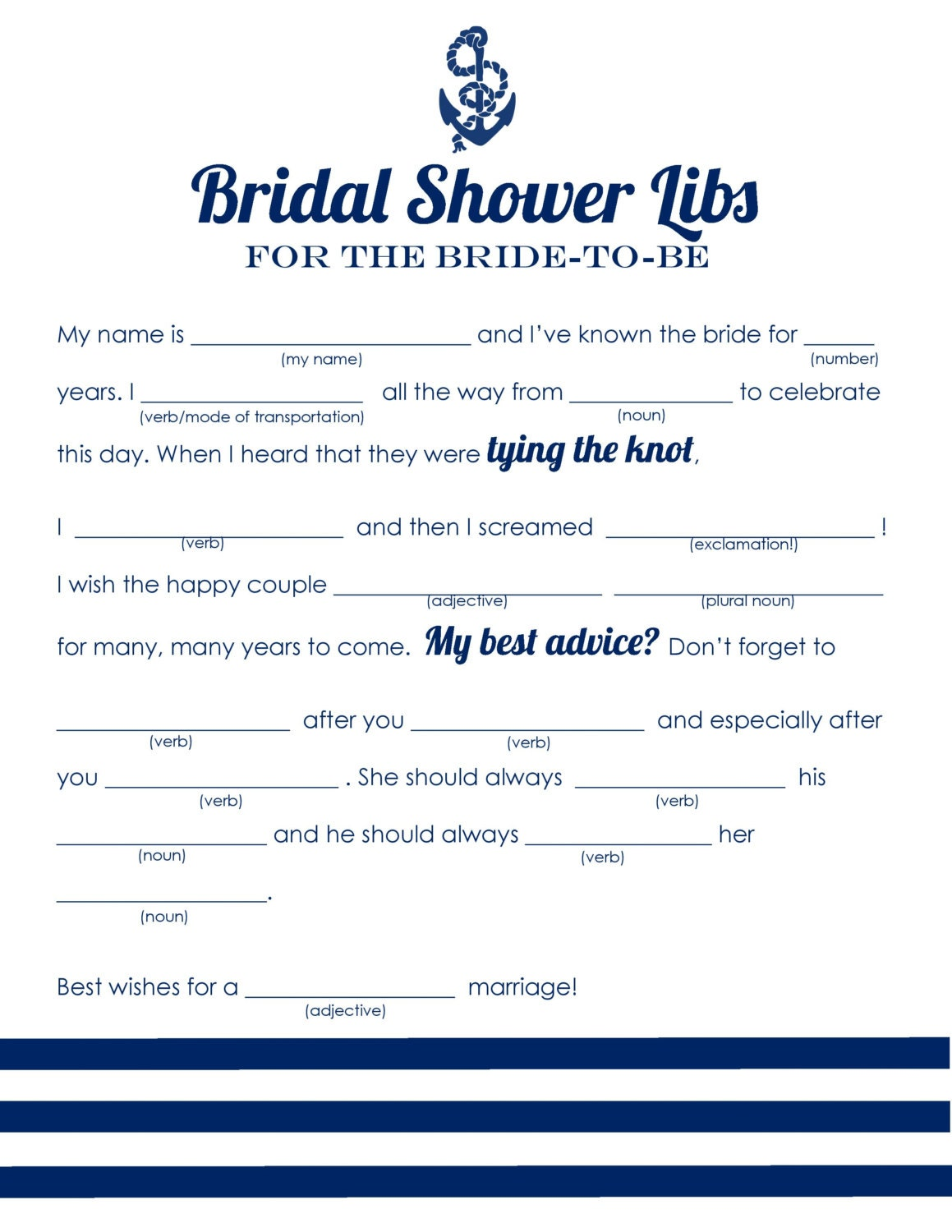 Influential image within bridal shower mad libs free printable