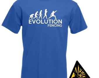 Evolution Of Man From Ape To Fencing T-Shirt Joke Funny Tee T Shirt Tshirt