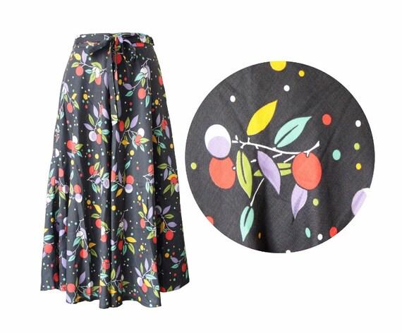 jupe longue ann es 70 80 noire imprim fleuri multicolore. Black Bedroom Furniture Sets. Home Design Ideas