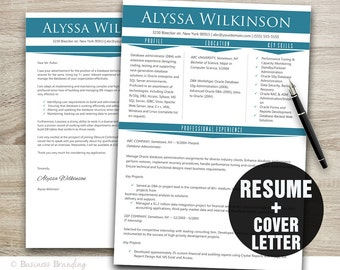 Professional Resume Template Instant Download, Resume Cover Letter Template