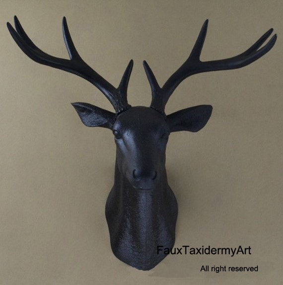 Large black faux deer head wall decor wall hanging faux by for Animal head wall decoration