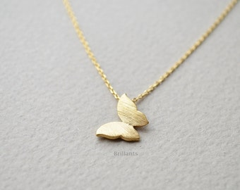 Butterfly pendant necklace in gold, Butterfly necklace, Bridesmaid gift, Everyday necklace, Wedding necklace