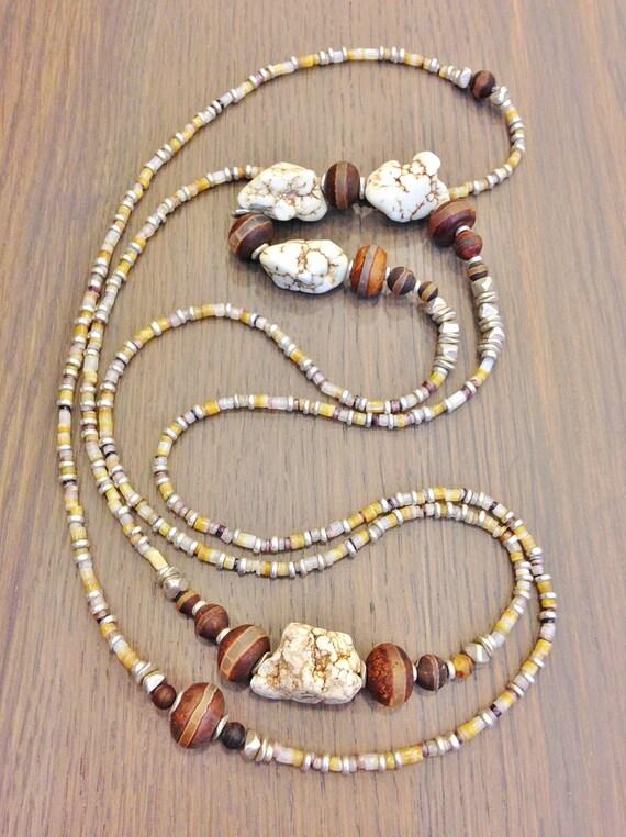 Semi Precious Gemstone Raw Stone : Natural raw stone necklace semi precious gemstone howlite