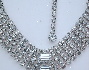 Vintage Rhinestone Necklace & Earrings * Unsigned Weiss * Wedding, Holidays, Party, Evening, Dance, Celebration