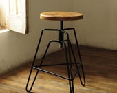 Adjustable Industrial Bar Stool Counter Stool handmade from Reclaimed Round Wood and Black Steel