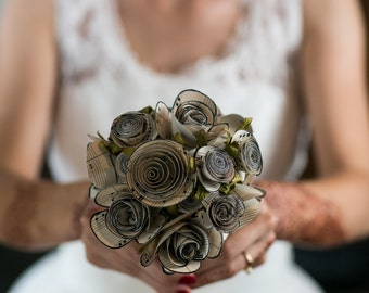 Custom Rolled Paper Bouquet - Bridesmaid (Approx. 15 Flowers)