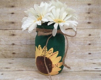 Sunflower Painted Mason Jar