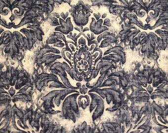 Soft Navy Damask Upholstery Fabric