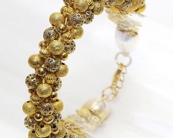 Chunky Gold Kumihimo Bracelet, Gold Bead Kumihimo Bracelet, Chunky Gold Beaded Bracelet