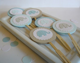 Elephant Cupcake Toppers - Baby Shower, First Birthday, Party Decorations, Birthday Party