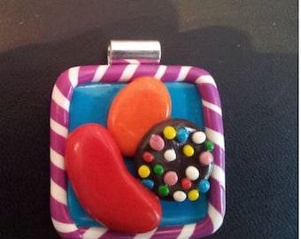 Candy Crush Saga Inspired Pendant Handmade