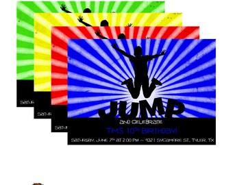 Boys JUMP Moonwalk Birthday Party Invitation - Digital or Printed
