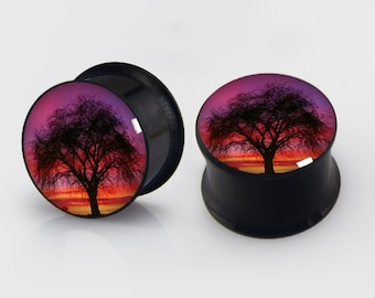 Sunset Tree Plugs,-Pairs Titanium Anodized Double Flare Ear Plugs Tunnels Earlets Gauges