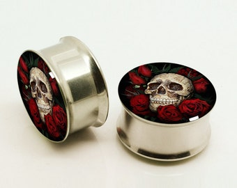 Flower Skull Plugs,-Pairs Titanium Anodized Double Flare Ear Plugs Tunnels Earlets Gauges