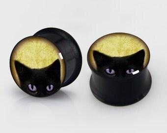 PAIR-BlackCat-Ear Gauges- Steel Ear Gauges-Ear Plugs-Screw flesh tunnels Custom zodiacs