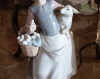 Lladro Retired Piece - Mint Condition Girl Holding Lamb