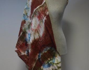 Exceptional scarf by ZUZA BART shibori technique 100% cotton earth tones wedding summer garden party