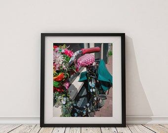 Flower Bike, Amsterdam Bicycle Photography - Art Print, Home Decor, Colorful, Bright, Cheerful, Travel Photography, Eccentric