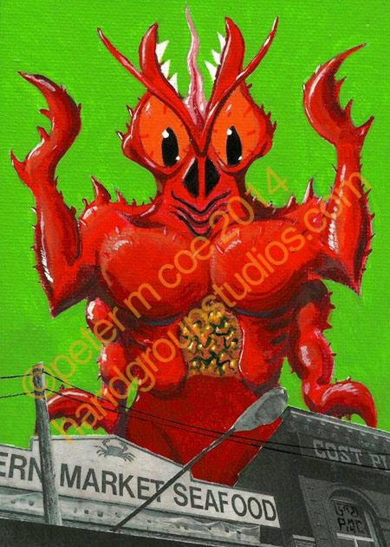 "Detroit Kaiju Monster Crustacean 5x7 Print ""Brachyura at Eastern Market"" Original Art Print by Pete Coe"