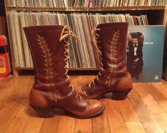 Vintage womens tony lama tall lace up roper boots size 10 5 granny