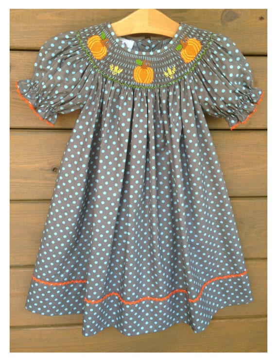 Pumpkin Smocked Bishop Dress ~ Charcoal Grey With Baby Blue Polka Dots