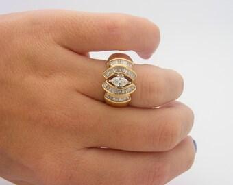 1.50 Carat Total Weight Diamond Cluster Ring. 14K Yellow Gold. VS1 - I. LGL