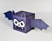 Halloween Bat Party Favor Boxes - Halloween Goodie Box DIY Digital PDF