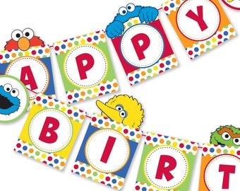 DIY Sesame Street Inspired Happy Birthday Sign / Happy Birthday Banner / Party Printable / Digital Files / INSTANT DOWNLOAD