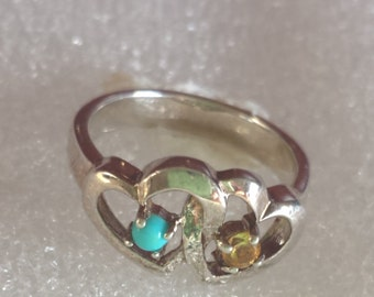 Double heartd with gemstone ring in  925 sterling  silver size 7.5