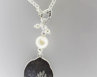 Yoga tree of life pearl silver beads necklace 26 inches in length