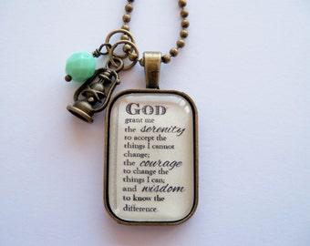 Serenity Prayer Necklace - God Grant Me The Serenity - Inspirational - Christian Jewelry -  Prayer Pendant - The Serenity Prayer - Rectangle