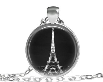 FREE SHIPPING Eiffel Tower Necklace, Eiffel tower pendant, Paris france jewelry, Black and white eiffel tower picture necklace, Eiffel tower