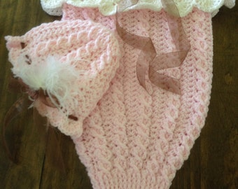 Crochet baby cocoon and matching hat - free shipping