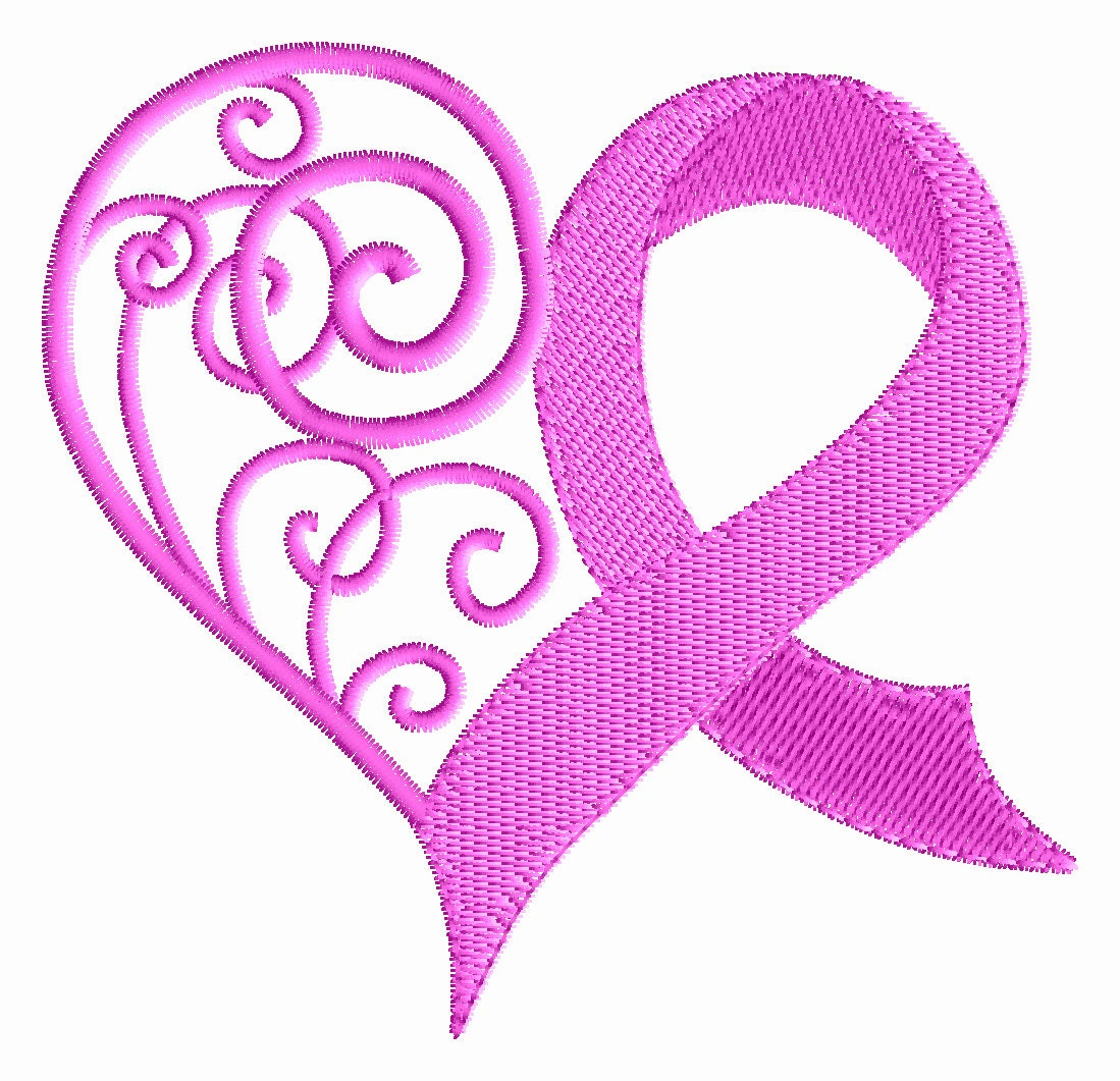 breast cancer ribbon embroidery