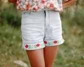 1980's Floral Embroidered Jeans Shorts